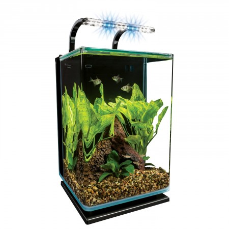 2. Marineland Contour Glass Aquarium Kit with Rail Light