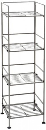 5.Seville Classics 4-Tier Iron Square Collapsible Storage Rack