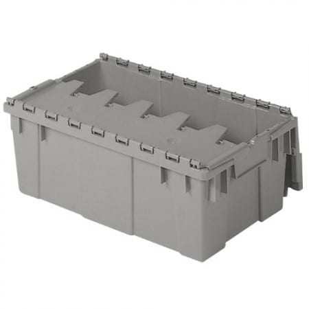Buckhorn Attached Lid Flip Top Storage And Distribution Plastic Tote